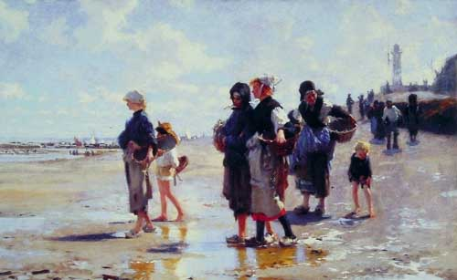 Painting Code#45009-Sargent, John Singer(USA): Oyster Gatherers of Cancale