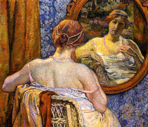 Oil Paintings Production:Theo van Rysselberghe: Woman at a Mirror hspace=