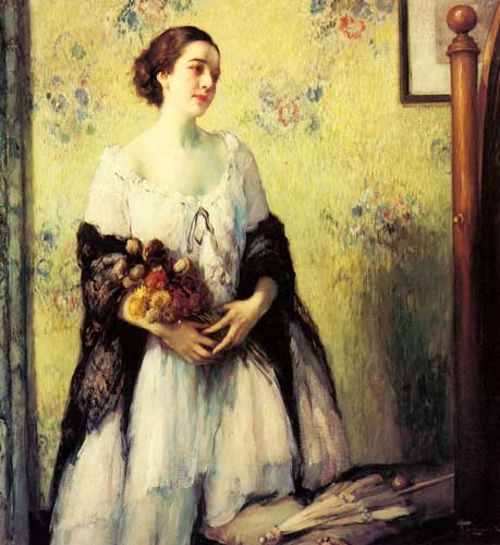 Oil Paintings Production:Toussaint, Fernand(Belgium): A Young Woman holding a Bouquet of Summer Flowers