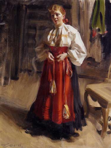 Painting Code#45171-Zorn, Anders(Sweden) - Girl in an Orsa Costume