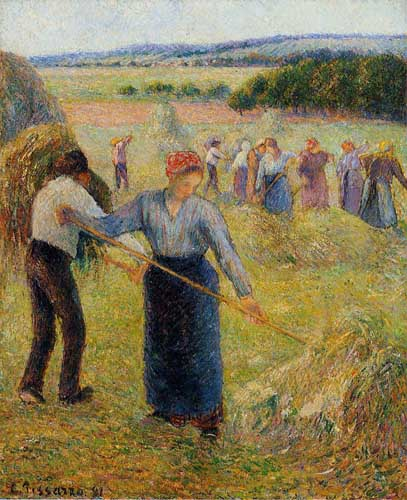 Painting Code#45781-Pissarro, Camille - Haymaking at Eragny