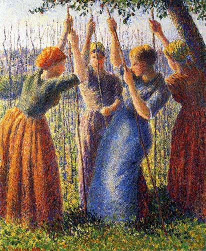 Oil Paintings Production:Pissarro, Camille - Peasant Women Planting Stakes hspace=