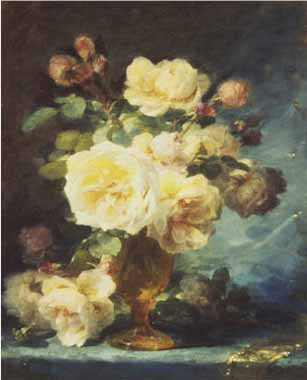 Painting Code#6020-Andre Perrachon - Roses in a Vase