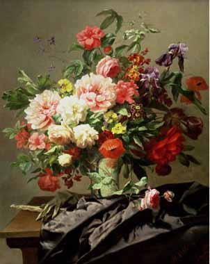 Oil Paintings Production:Henri Robbe - Peonies, Poppies and Roses hspace=