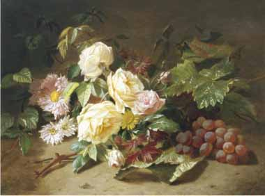 Painting Code#6024-Henri Robbe - Still Life with of Summer Flowers and Grapes