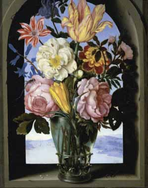Painting Code#6040-Bosschaert, Ambrosius the Elder - Bouquet of Flowers in an Arch
