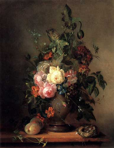 Painting Code#6042-Huygens, Francois-Joseph: Roses, Morning Glory, Poppies and Tulips with Peaches anda Bird's Nest on a wooden Ledge