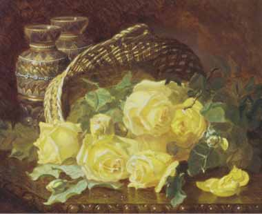 Painting Code#6054-Stannard, Eloise Harriet - Basket of Yellow Roses