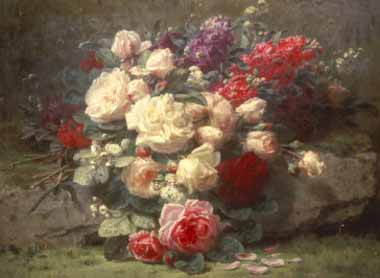 Painting Code#6084-Robie, Jean-Baptiste(Belgium) - Bouquet of Pink Roses and Scented Stocks