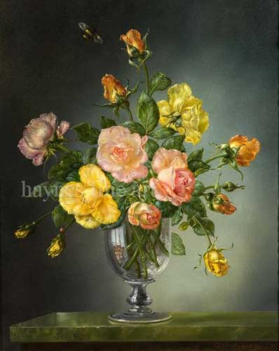 Painting Code#6102-Cecil Kennedy - Rose in a Georgian Glass Goblet