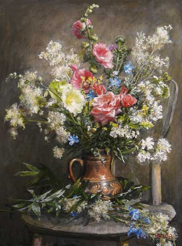 Oil Paintings Production:Pantsyrev Yuri N.- A bouquet of roses and mallow hspace=