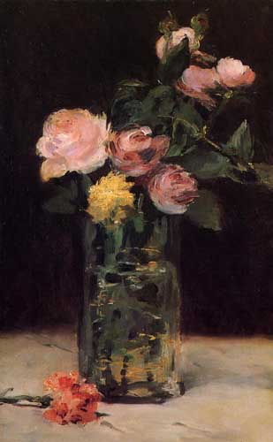 Painting Code#6704-Manet, Edouard - Roses in a Glass Vase