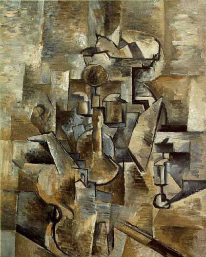 Painting Code#7042-Braque, Georges: Violin and Candlestick