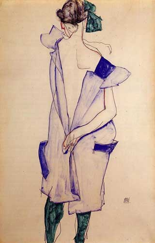 Painting Code#70930-Egon Schiele - Standing Girl in a Blue Dress and Green Stockings, Back View