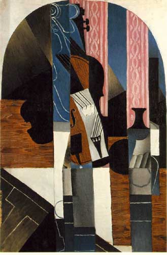 Painting Code#7690-Juan Gris: Violin and Ink Bottle on a Table