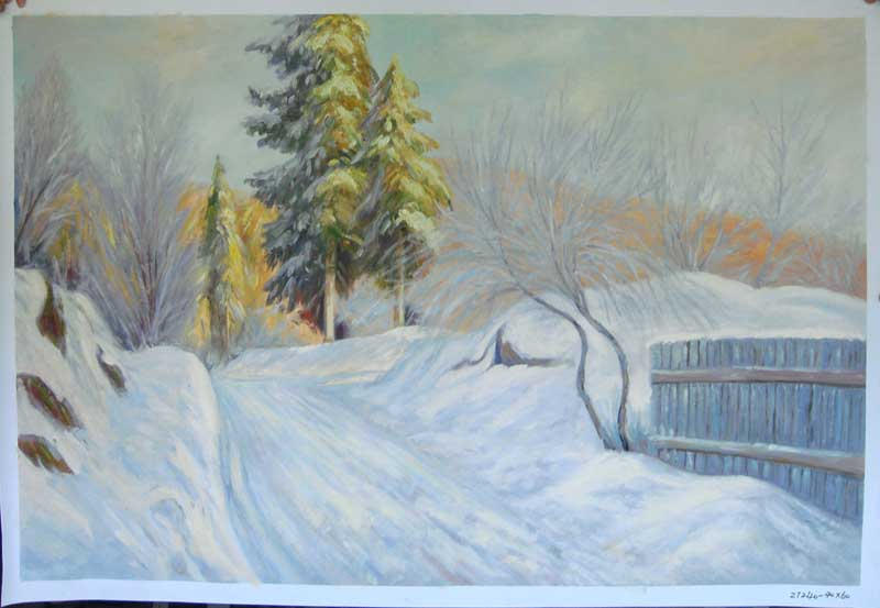 Painting Code#S127240-Snow Landscape Painting
